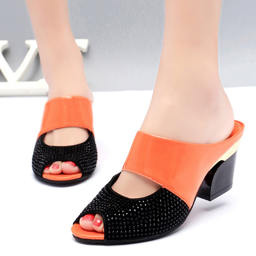 Color Block  Chunky  High Heeled  PU  Casual Pumps