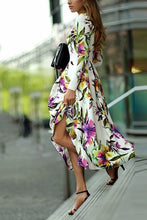 Load image into Gallery viewer, Long-Sleeved Printed Round Collar Expansion Maxi Vacation Dress