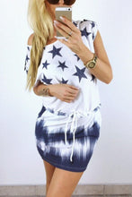 Load image into Gallery viewer, Round Neck  Belt  Printed Star  Short Sleeve Casual Dresses
