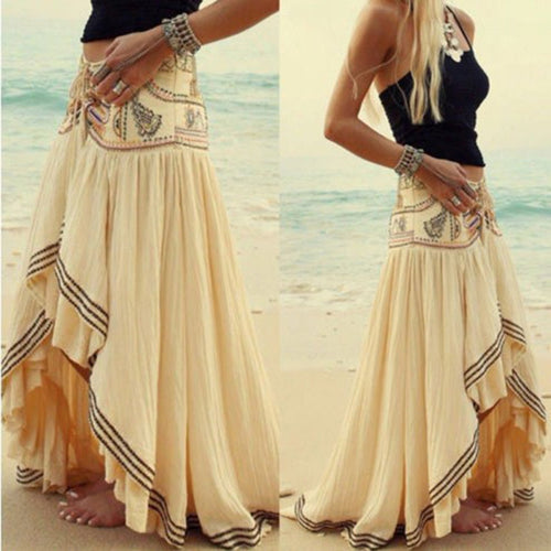 Bohemia Style Irregular Hem Beach Skirt Vacation Dresses