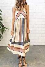 Load image into Gallery viewer, Round Neck  Striped  Sleeveless Maxi Dresses
