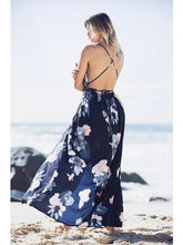 Load image into Gallery viewer, Dark Blue Backless Floral Print Maxi Dress
