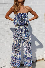 Load image into Gallery viewer, Off Shoulder  Elastic Waist  Abstract Print  Sleeveless Jumpsuits