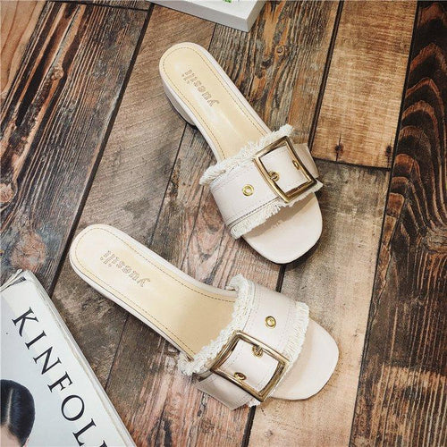 Fashion Pure Color Thick Heels Sandals