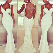 Load image into Gallery viewer, Sexy V Collar Open Back Sleeveless Princess Fishtail Evening Dress