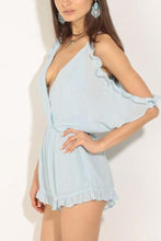Load image into Gallery viewer, Casual Light Blue Off Shoulder Romper