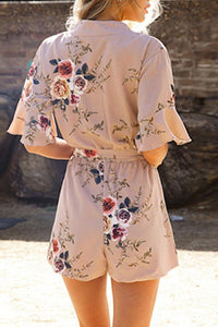 Sexy V Neck Half Sleeves Floral Print Rompers
