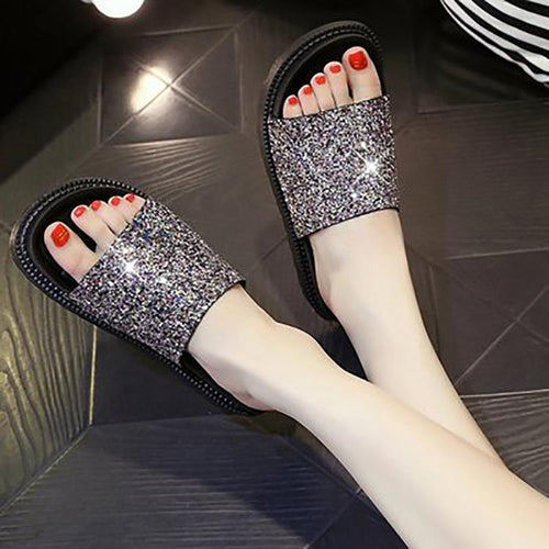 Fashion Sequins Pure Color Non-Slip Sandals