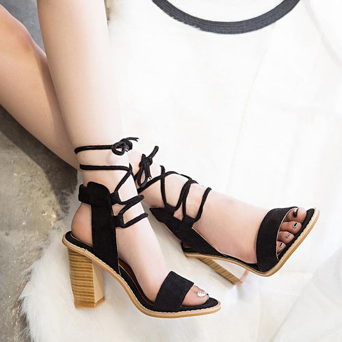 Fashion Pure Color Cross Belt Thick Heels Sandals