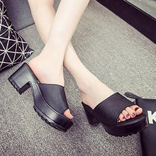 Load image into Gallery viewer, Fashion Pure Color Thick Heels Fish Mouth Sandals