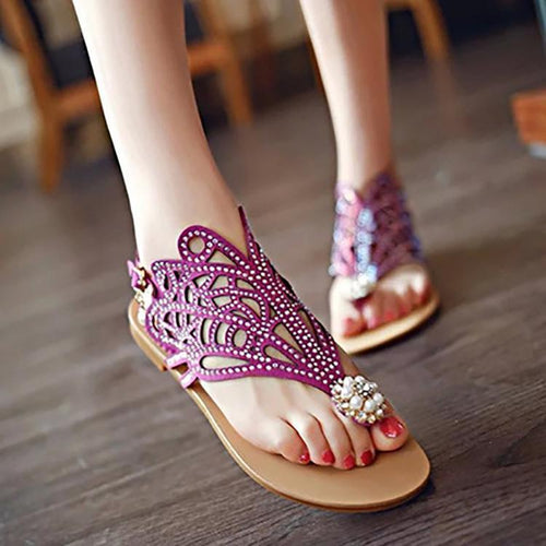 Fashion Rhinestone Pure Color Clip Toe Beach Sandals