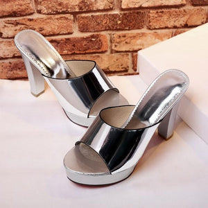 Fashion Pure Color Fish Mouth Thick Heels Sandals