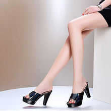 Load image into Gallery viewer, Fashion Pure Color Fish Mouth Thick Heels Sandals