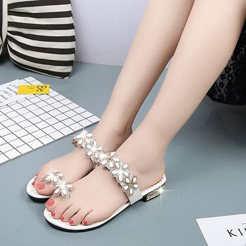 Fashion Flower Rhinestone Clip Toe Sandals