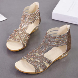 Hollow Out  Low Heeled  Ankle Strap  Peep Toe  Date Office Sandals