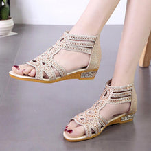 Load image into Gallery viewer, Hollow Out  Low Heeled  Ankle Strap  Peep Toe  Date Office Sandals