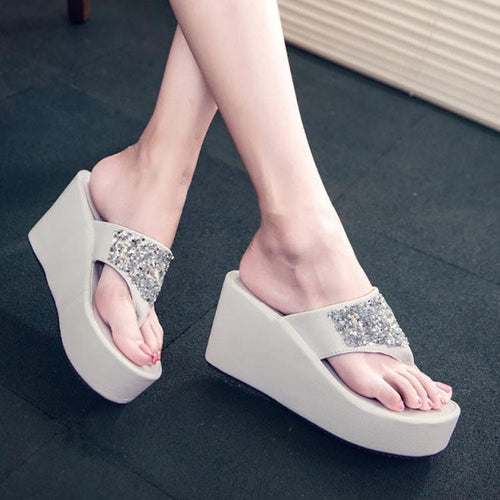 Fashion Rhinestone Wedge Sandals