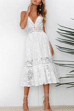 Load image into Gallery viewer, Sexy White Sleeveless Lace Maxi Dress