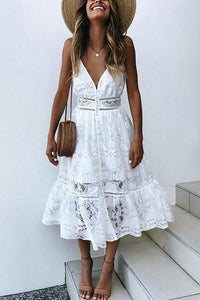 Sexy White Sleeveless Lace Maxi Dress