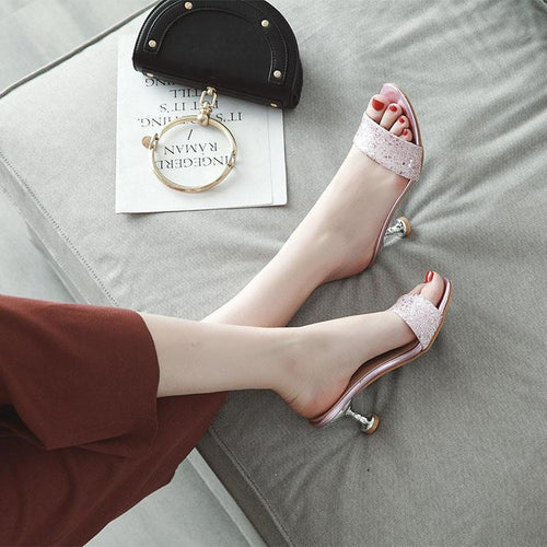 Fashion Sequins Slim High Heels Sandals