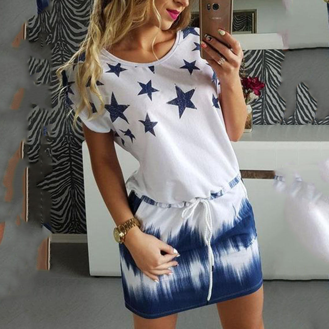 Round Neck  Belt  Printed Star  Short Sleeve Casual Dresses