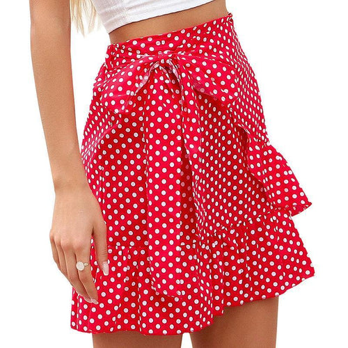 Printed Laminated Ruffle Lace Skirt