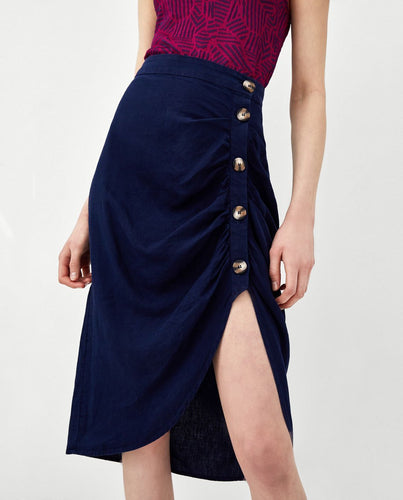 Pleated Decorative Midi Skirt