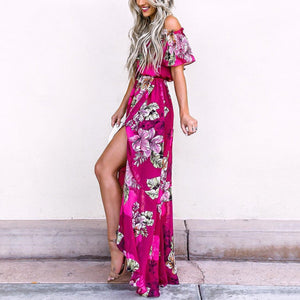 Rose Off Shoulder Floral Print Maxi Dress