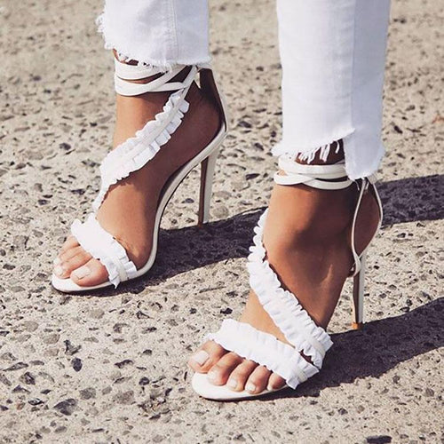 Fashion Lace Cross Straps Fish Mouth Slim High Heels Sandals