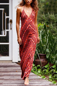 Sexy Red Floral Print Vacation Maxi Dress