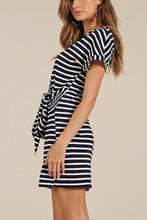 Load image into Gallery viewer, Fashion Short Sleeves Stripe Mini Dress