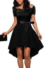 Load image into Gallery viewer, Elegant Off Shoulder Lace Evening Mini Dress