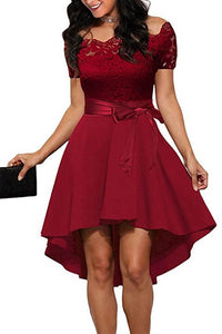 Elegant Off Shoulder Lace Evening Mini Dress