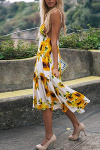 Sexy Yellow Floral Print Maxi Dress
