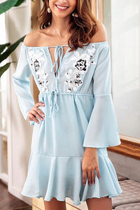 Sexy Light Blue Long Sleeves Mini Dress
