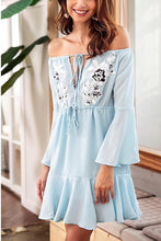 Load image into Gallery viewer, Sexy Light Blue Long Sleeves Mini Dress