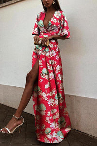 Sexy Red Short Sleeves Floral Print Maxi Dress