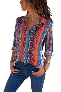 Sexy Multi Stripe Long Sleeves Blouses T-Shirt