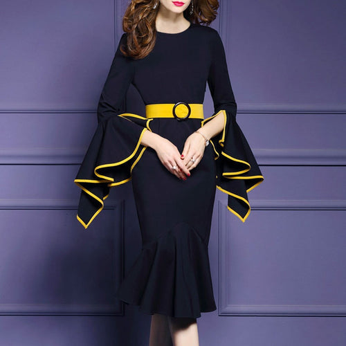 Crew Neck  Plain Bodycon Dress Trumpet Sleeves