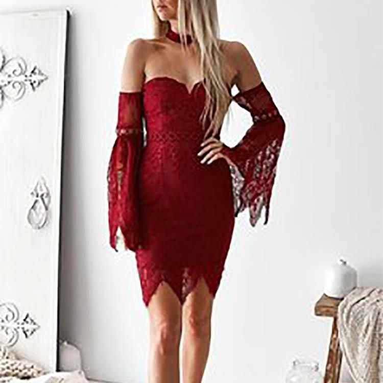 Sexy Off Shoulder Strapless Lace Flare Sleeve Package Hip Bodycon Dress