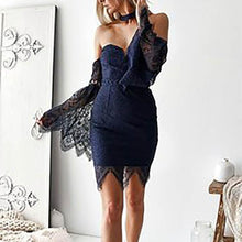 Load image into Gallery viewer, Sexy Off Shoulder Strapless Lace Flare Sleeve Package Hip Bodycon Dress