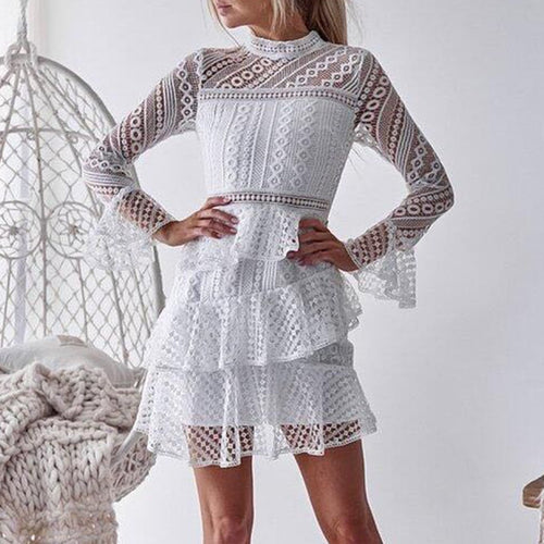 Sexy Lace Hollow Out Layered Mini Dresses