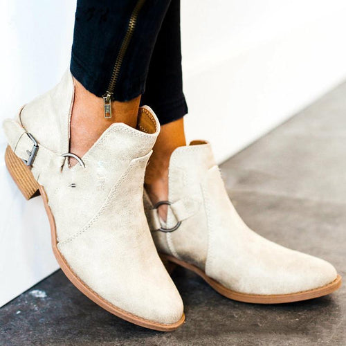Fashion Solid Color Low Heel Boots