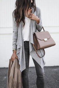Long Sleeve Lapel Plain Loose Irregular Cardigan
