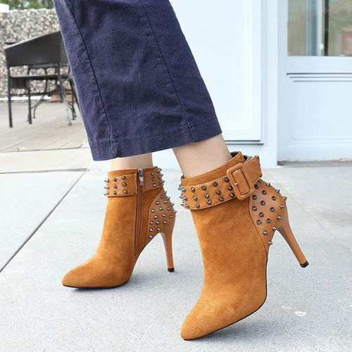 Fashion Belt Buckle Pointed Stitching High Heel Boots