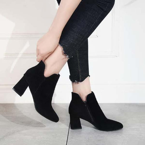 Pointed High Heel Low Tube Ankle Boots