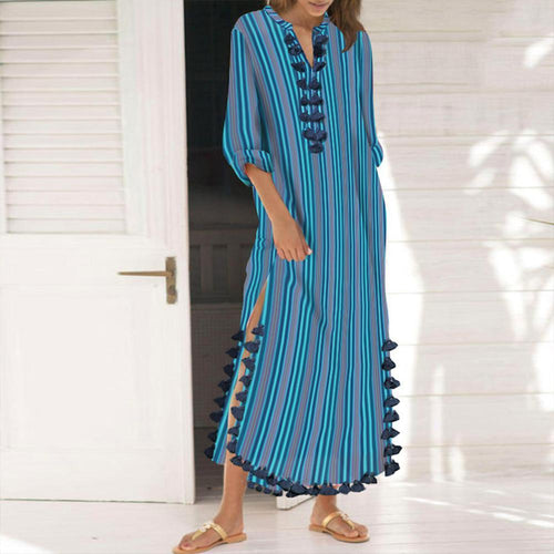 Cotton/Polyester Printed Stripe  Tassel Casual Shift Maxi Dress Vintage Dress