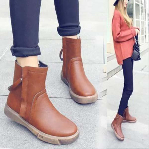 Solid Color Double Zipper Flat Bottom Non-Slip Soft PU Martin Boots