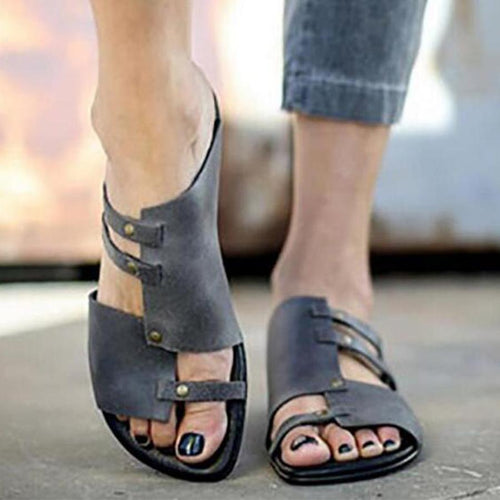Plain  Flat  Peep Toe  Casual Slipper Flats Sandals