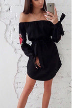 Load image into Gallery viewer, Fashion Off Shoulder Embroidery Mini Dress